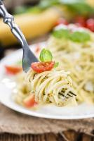 Spaghetti with basil Pesto photo