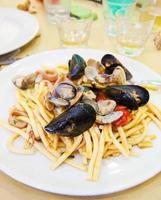 Spaghetti with mussel and clam photo
