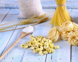 Pasta and ingredients. photo