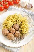 lamb meat balls with green pesto spaghetti