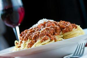 Bolognese and red wine photo