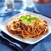 spaghetti in bolognese sauce photo