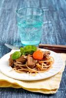 Spaghetti with beef stew