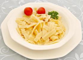 Tagliatelle with carbonara sauce photo