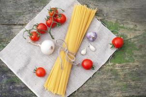 Pasta spaghetti with fresh vegetables photo