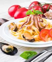 Pasta with mussels and octopus