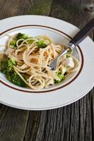 Plate of linguine with chicken, broccoli and Alfredo sauce