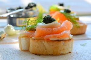 Smoked salmon sandwich appetizer