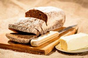 Image of bread loaf and butter photo