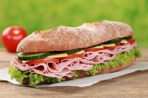 Baguette with ham photo