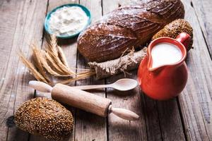food. composition of bread, spike, flour and milk photo