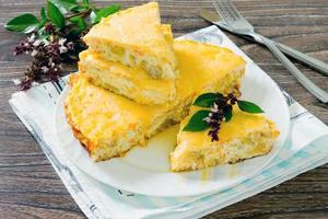 Fish omelet with cheese baked in Multivarki