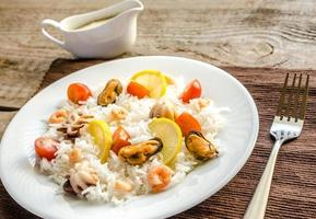 Basmati rice with seafood photo