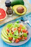 Avocado salad on a plate photo