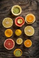 Set of sliced citrus fruits photo
