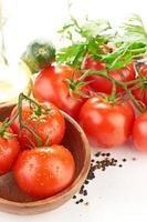 Setting pasta with tomato and garlic photo