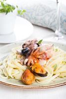 Seafood Spaghetti with Prawns, Scallops, Mussels, Calamari and Tomato Sauce