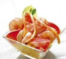 Grapefruit and shrimps photo