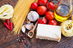 Raw pasta ingridients photo