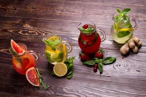 Different types of fresh lemonades.