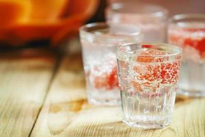 Soda with pink grapefruit in glasses