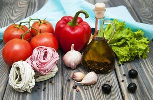 Ingredients for Italian pasta photo