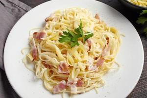 pasta carbonara on white plate
