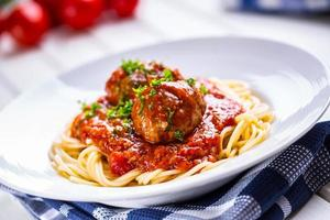Meat balls. Italian and Mediterranean cuisine. Meat balls with s photo