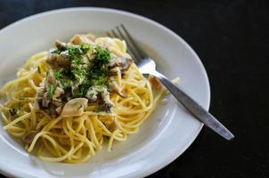 Vegetarian pasta with mushrooms photo