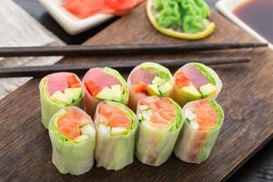 Spring rolls with tuna and salmon photo