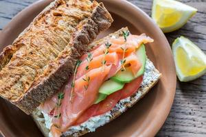 Sandwich with salmon, avocado and tomatoes photo