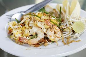 Seafood pad Thai dish of Thai fried rice noodles