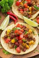 Mexican cuisine - tortillas, chili con carne and tomato salsa