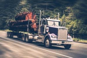 Speeding Logging Truck photo