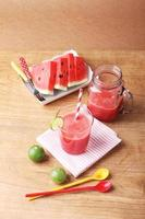 Healthy watermelon lime smoothie and fresh watermelon
