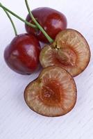 Threesome ripe cherries.