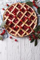 American homemade cherry pie. vertical top view photo