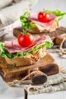 Delicious salami on sandwich photo