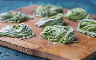 Homemade Pasta With Spinach. photo