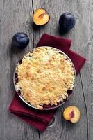Plums crumble pie photo