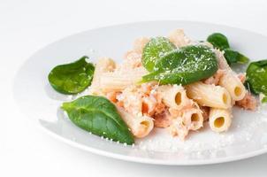 macarrão com salmão e espinafre