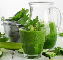 Healthy green smoothie photo