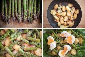 Asparagus, potatoes, spinach and eggs salad set