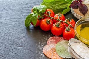 ingredientes de ravioles: círculos de masa, ricotta, albahaca, espinacas foto