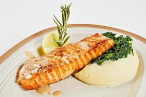 Salmon fillet with mashed potatoes photo