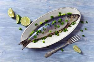 herring with green onion photo