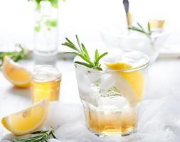 Gin,lemon, rosemary fizz, cocktail