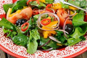 Raw salad with vegetables: spinach, tomatoes, olives, onion, bel