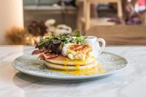 Pancakes with Eggs Benedict photo