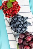 Plums, red currants and blueberries in small metal bucket photo